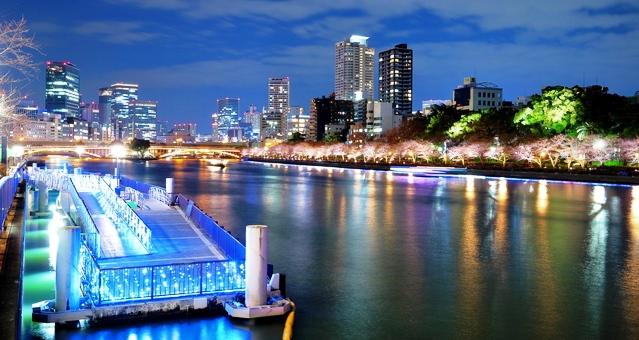 八軒家浜船着場の夜景