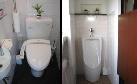 ウォシュレット付き水洗トイレと 男性専用小用トイレ